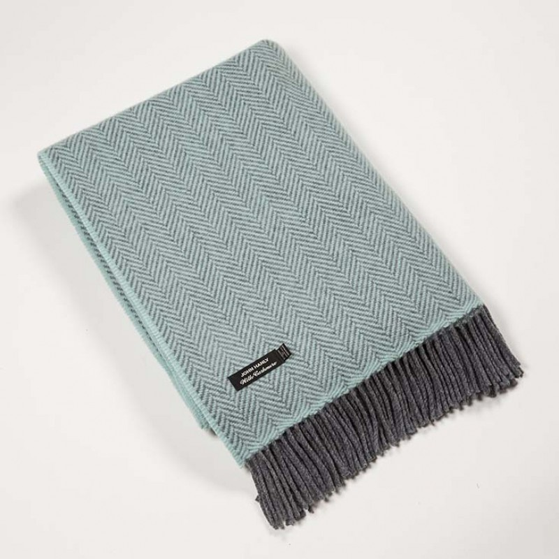 Herringbone Pale Blue Throw
