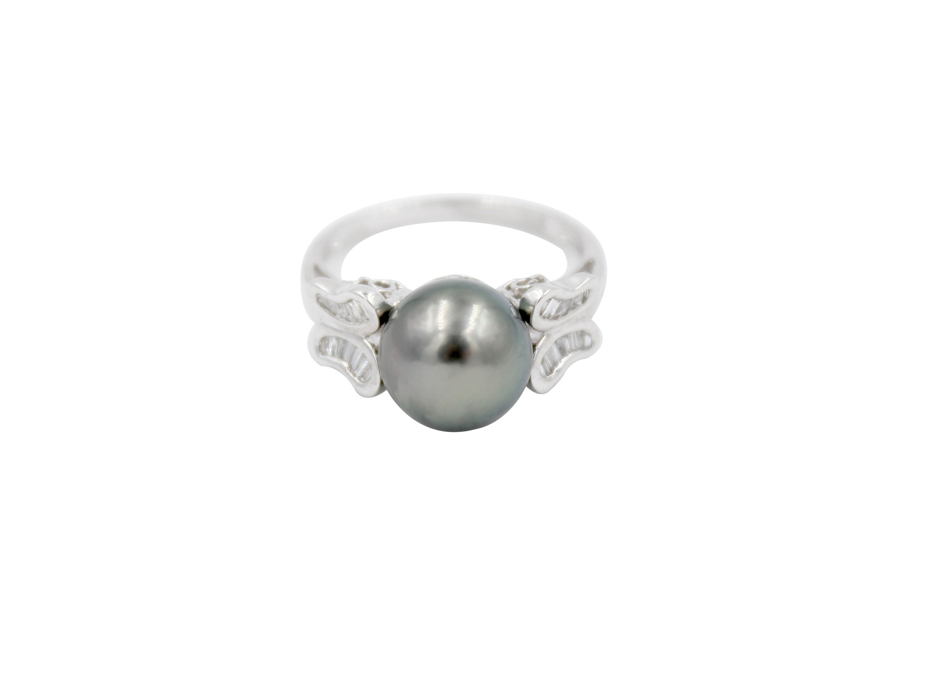 Diamond & Dark Tahitian Pearl Butterfly Ring