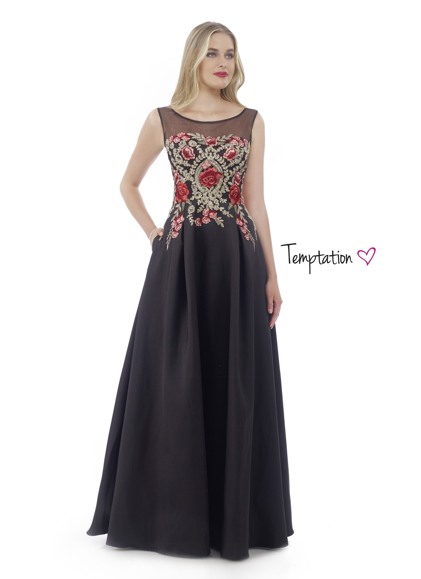 17659e86c9e Black Long Prom Dress with Embroidered Bodice