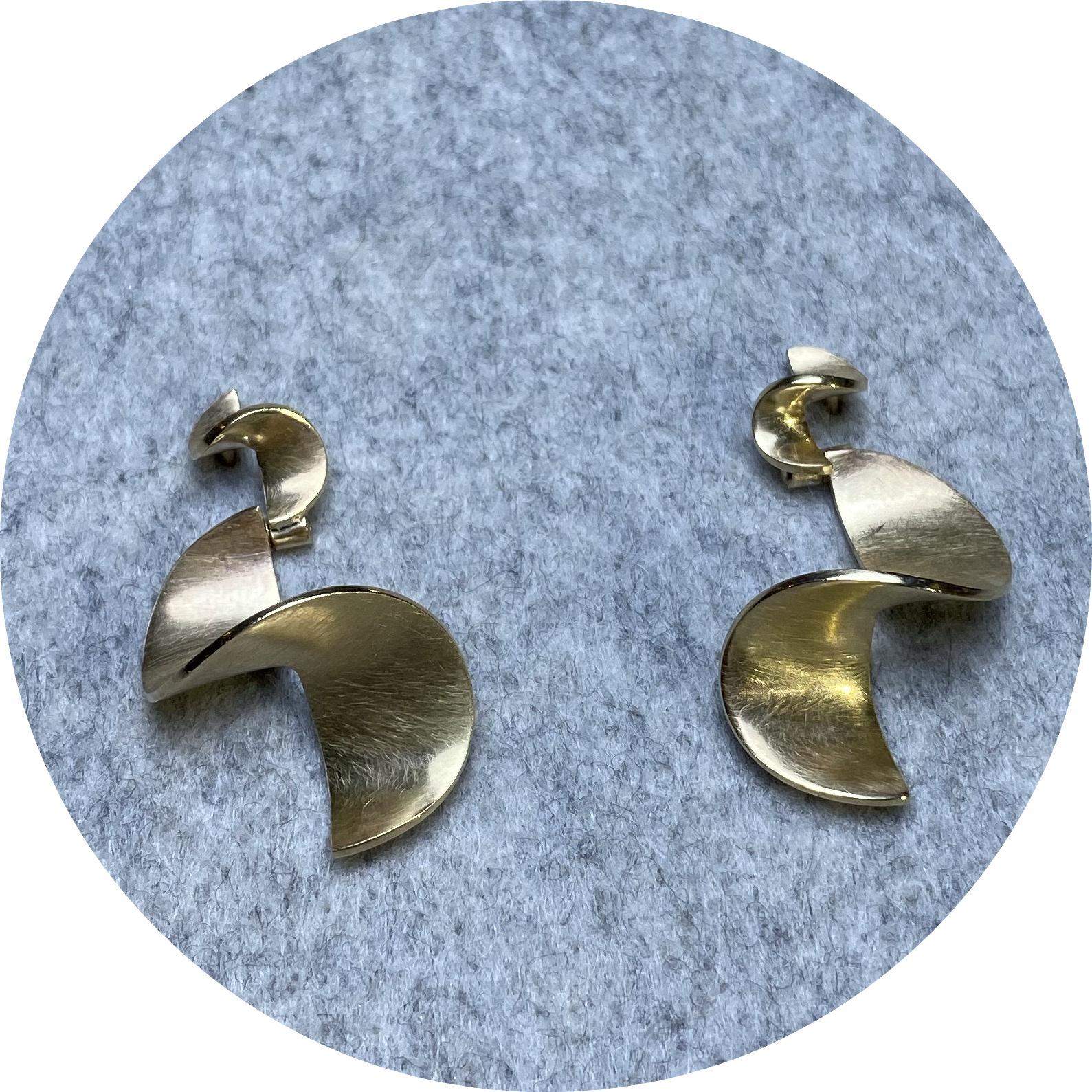 Susan McGinness- 9ct yellow gold SLIDE earrings.