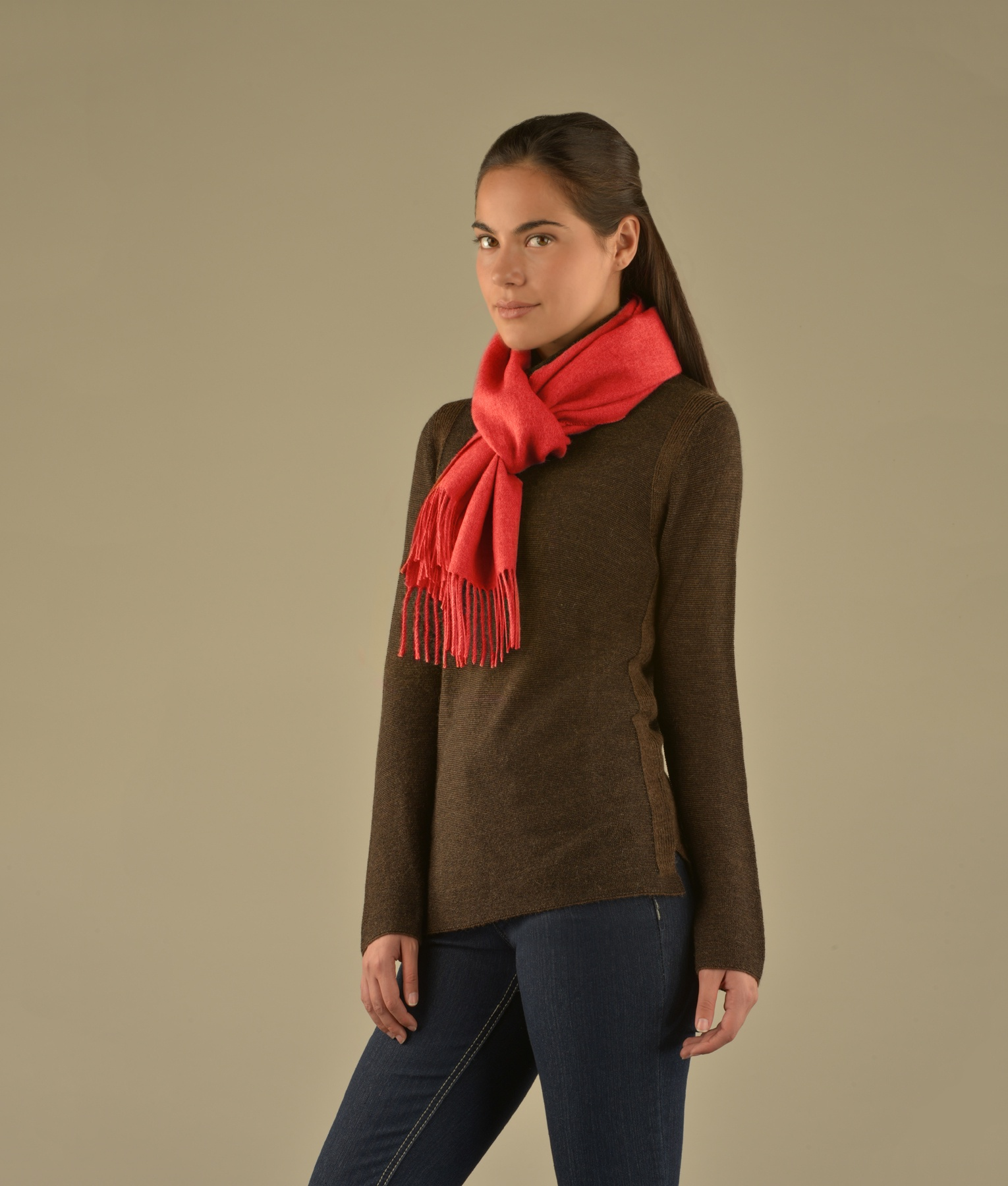 LONG BRUSHED SCARF ORANGE RED RJ12955