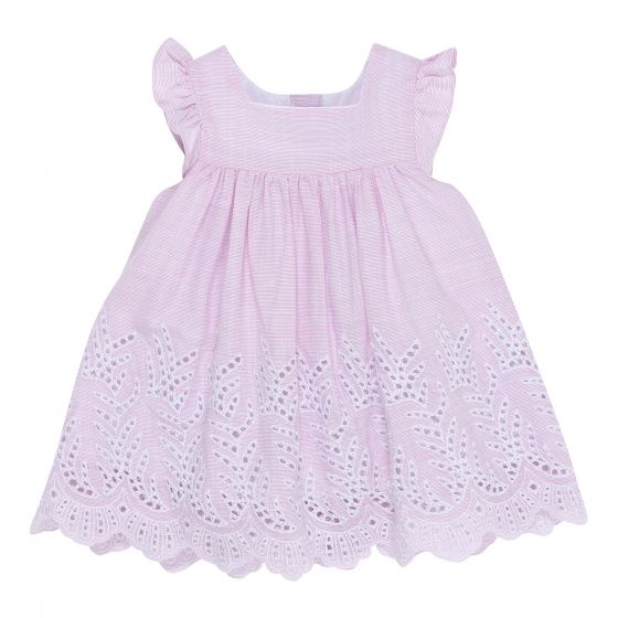 Bebe Zoe Stripe Dress With Cut Work Pink