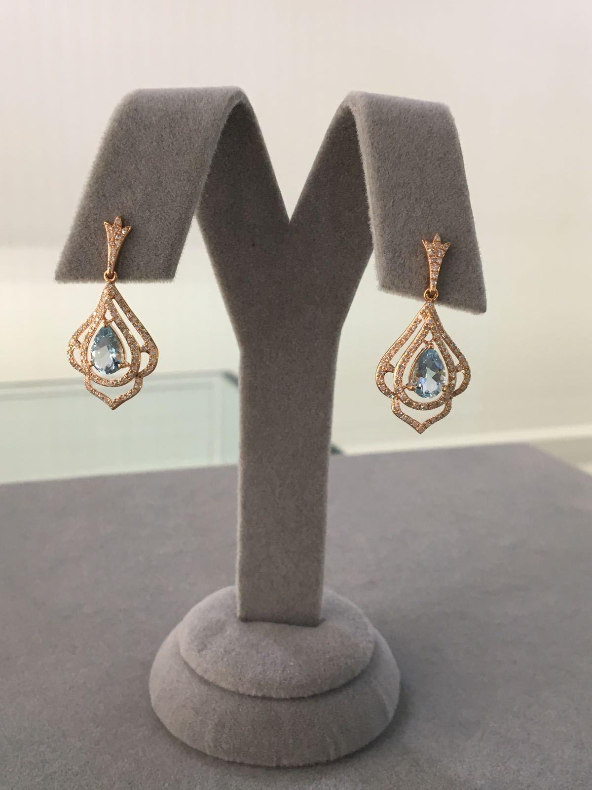 Rose Gold Diamond & Aquamarine Drop Earrings
