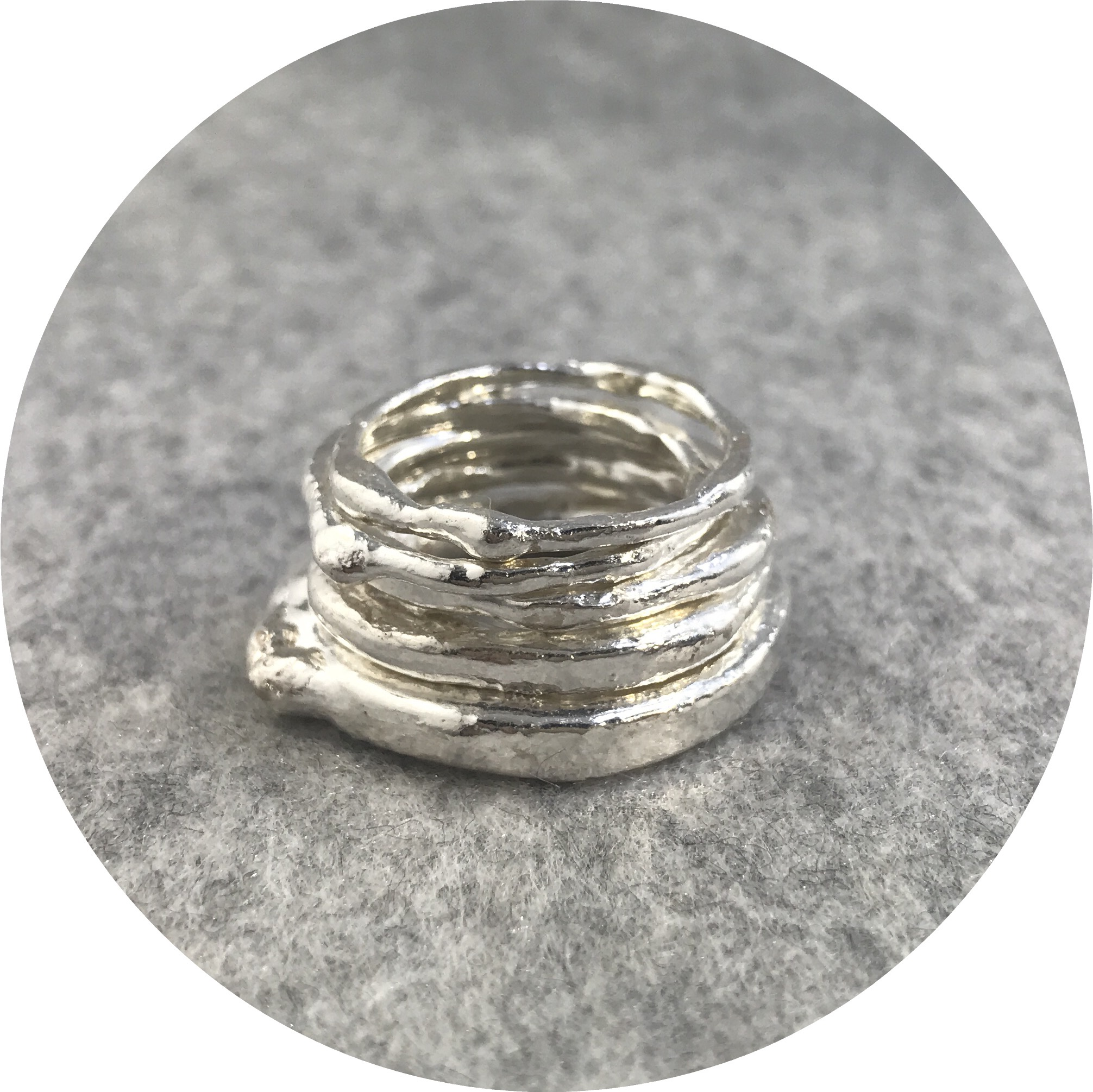 Elodie Darwish - Stack Ring's in Fine Silver  Size N