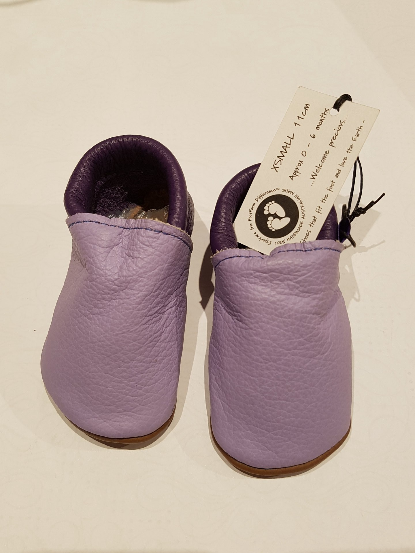 Two Tone purple Moccasins - fit approx 0 - 6 months