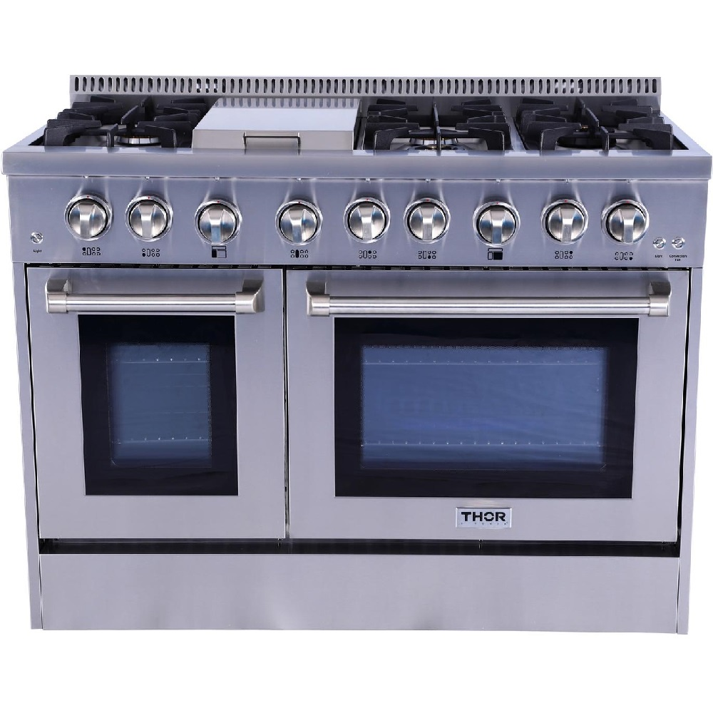 Thor Kitchen 48 6 Burner Gas Range With Double Oven W 15000 Btu Griddle Matts Wholesale