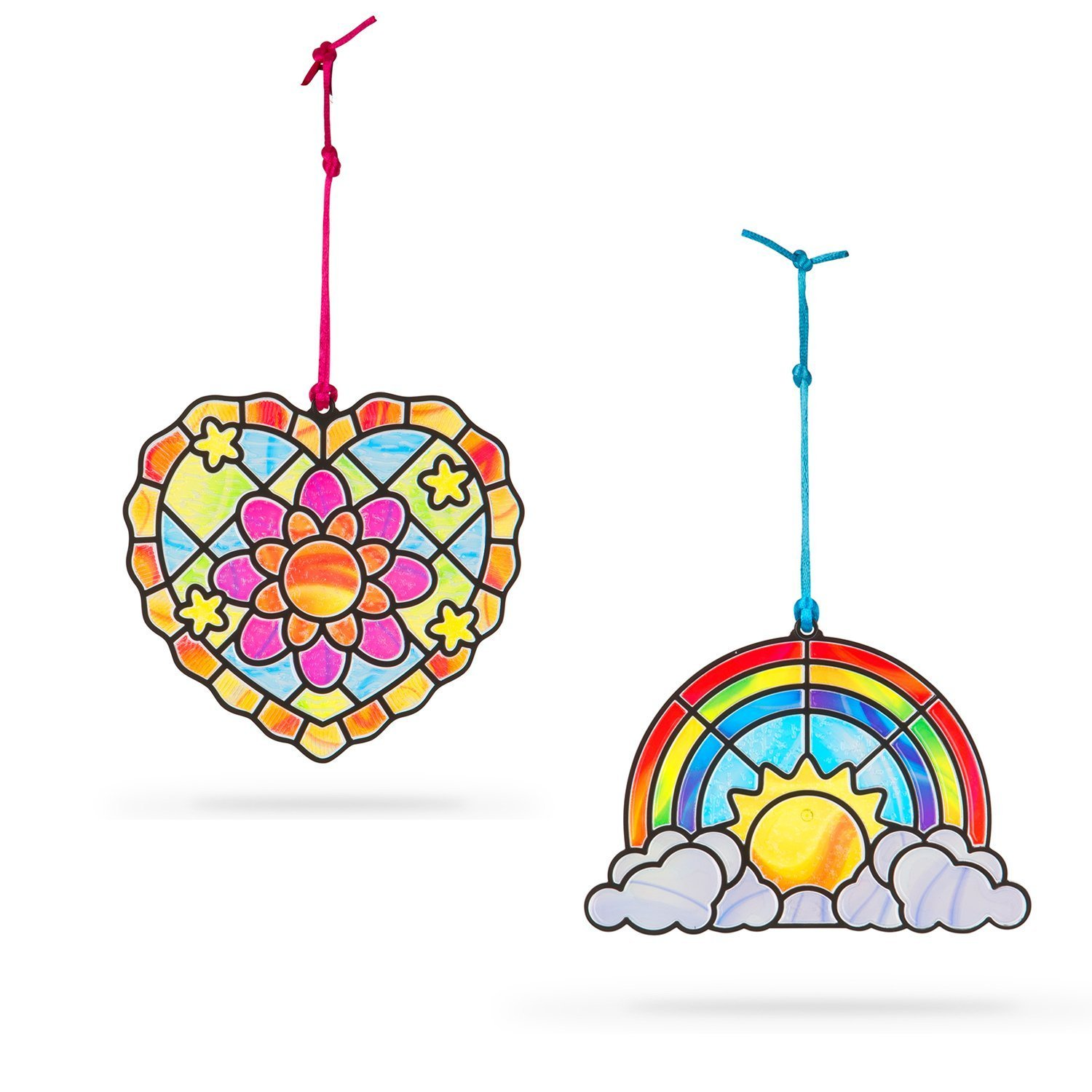 STAINED GLASS HEART AND RAINBOW
