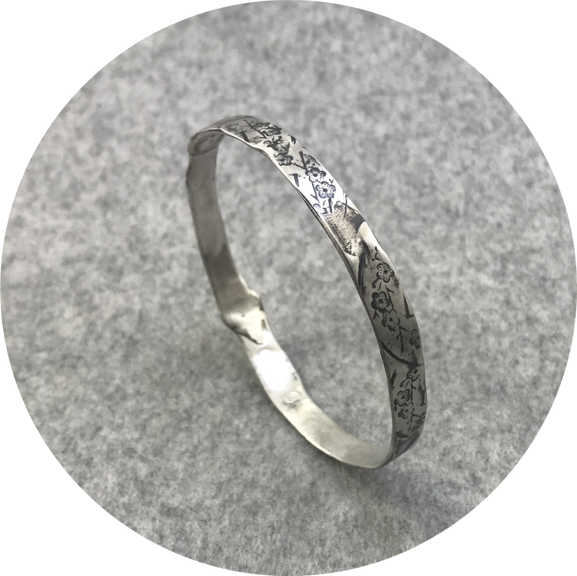 Claire Taylor - Blossom Pattern Bangle in Oxidised  Sterling Silver