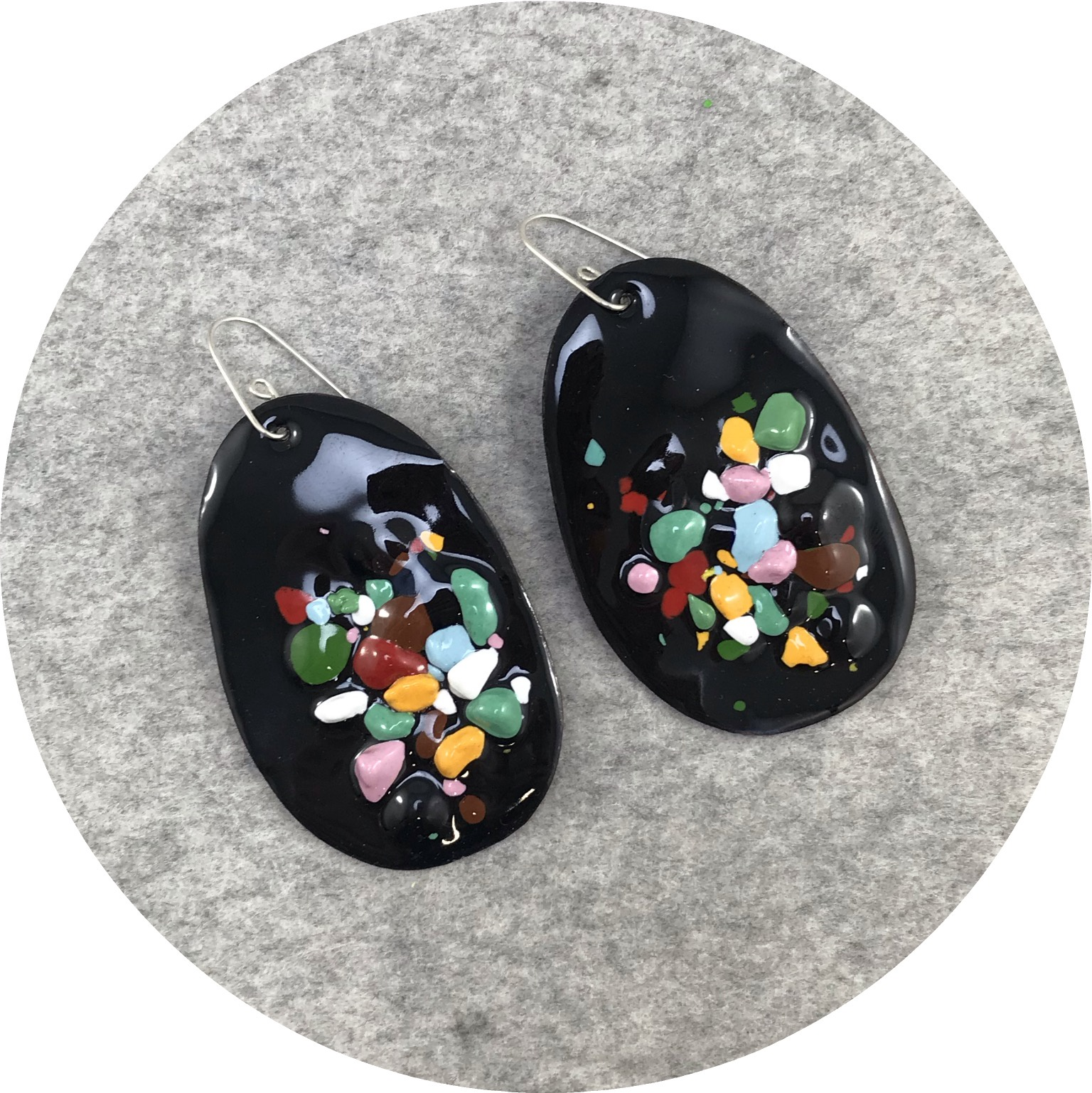Jenna O'Brien - Large Queenie Earrings in Black Enamel with Colourful Flecks