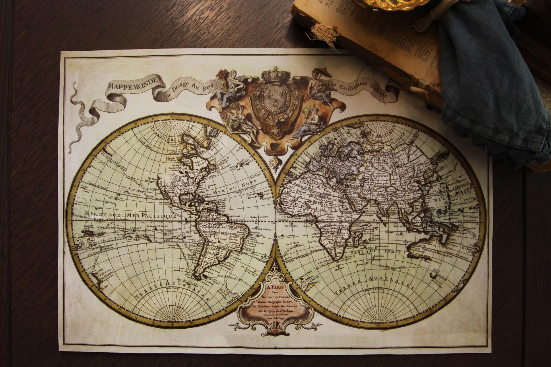 Paper Placemats - Vintage Map - Rectangle - 30pk