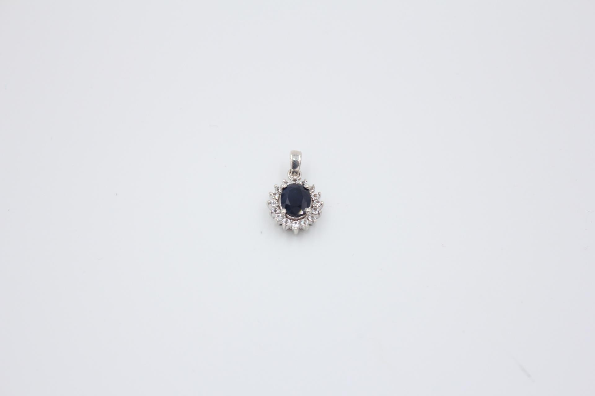 Silver Sapphire & White Topaz Pendant