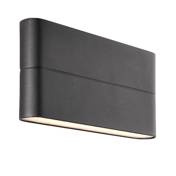 Hanford 2lt wall IP44 6W warm white - textured black
