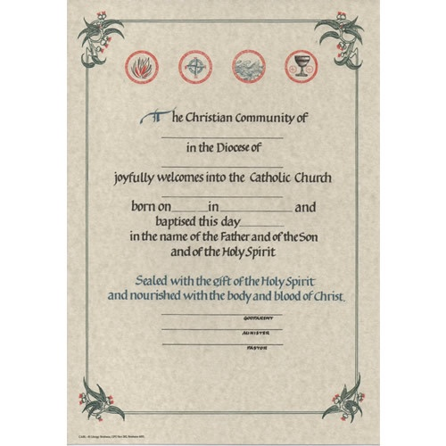 Adult baptism certificates