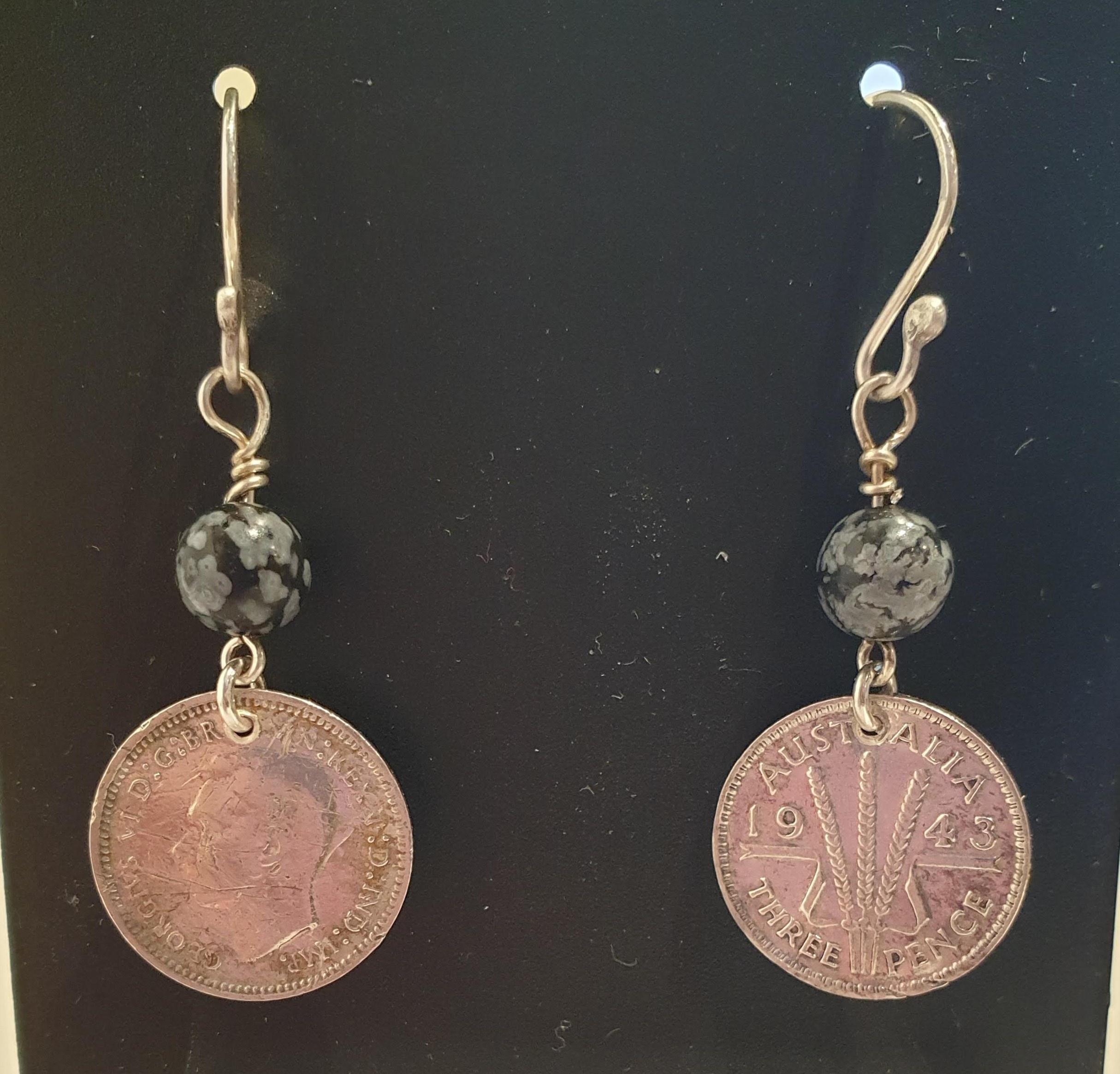 Genuine 1943 Threepence and Snowflake Obsidian Earrings