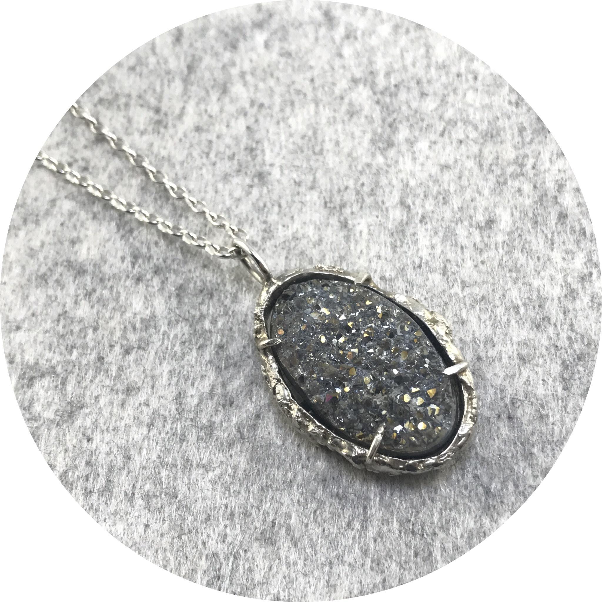 Lizzie Slattery- Druzy Necklace. Sterling silver and druzy quartz.