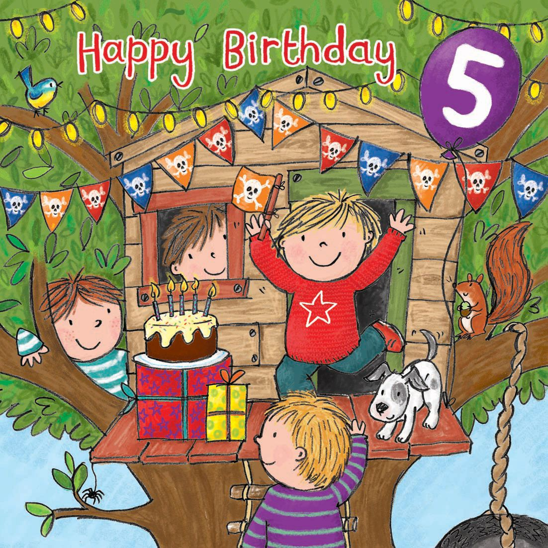 Age 5 Boys Happy Birthday Card With Milo TW720