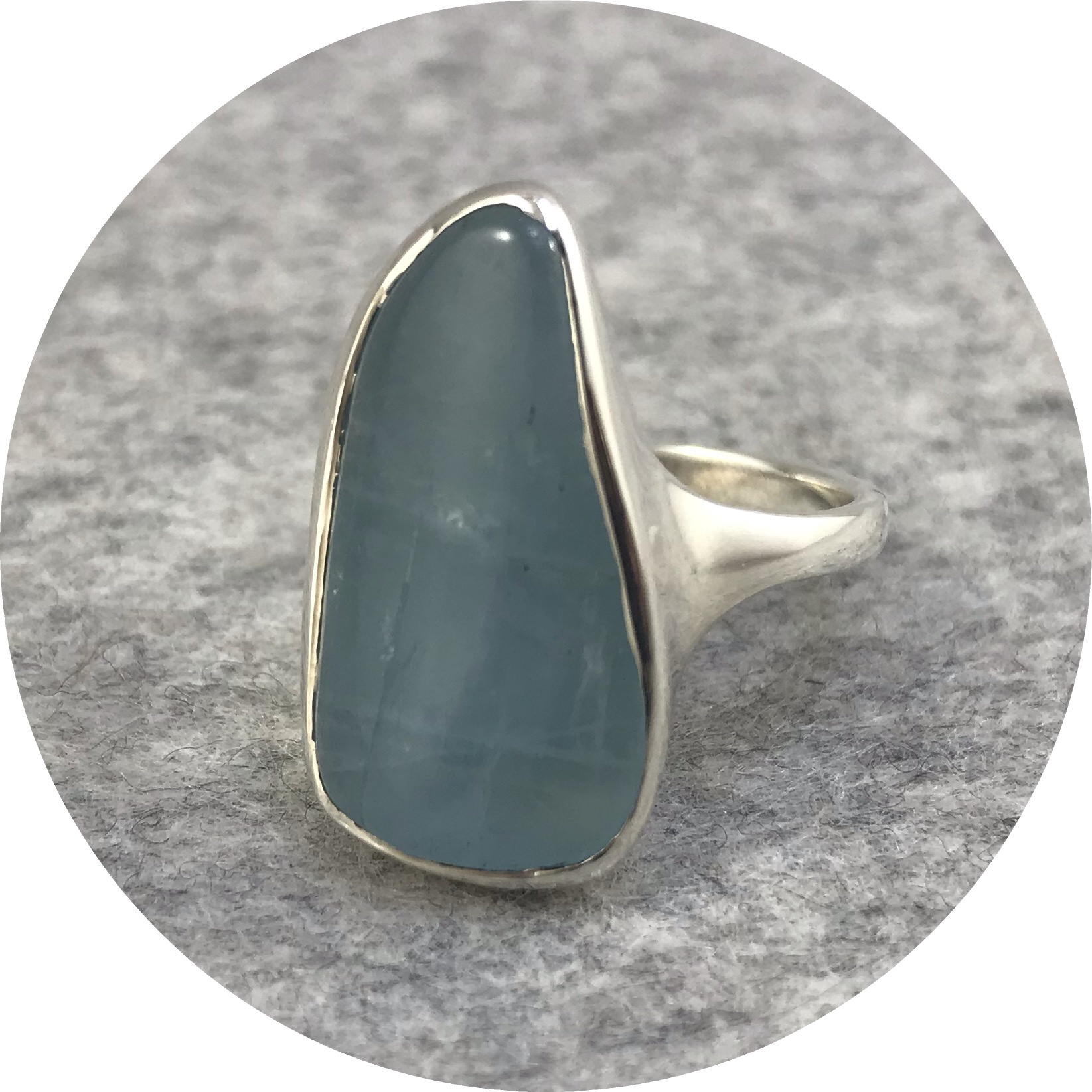 Leonie Simpson - Aquamarine Stone Set in a Sterling Silver Ring