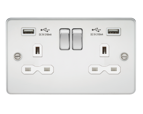 Flat plate 13A 2G switched socket with dual USB charger - polished chrome with white insert