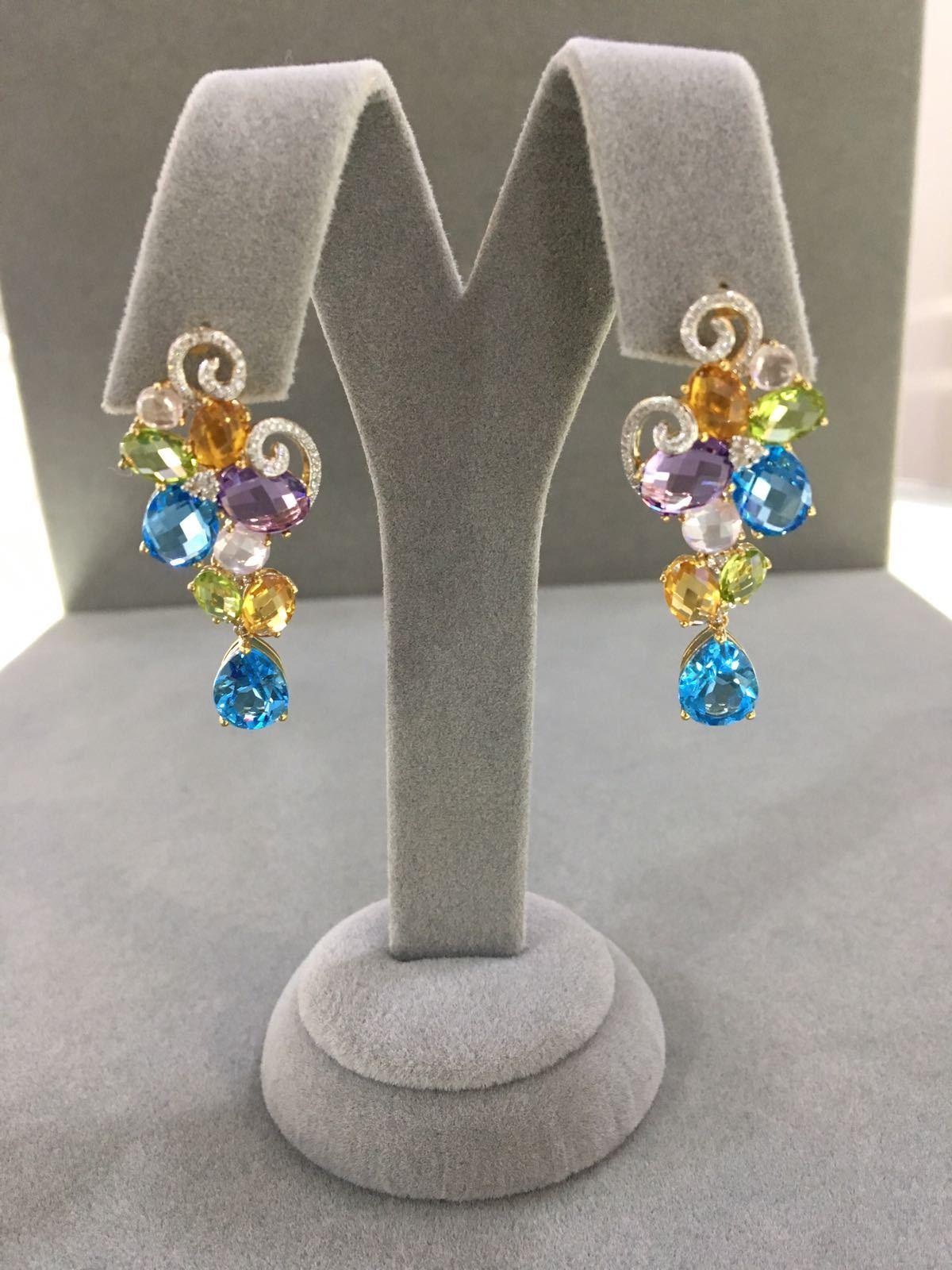 Multi Stone Bunch Mixed Gemstones Dangle Earrings