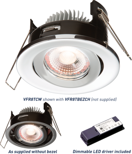 PROKNIGHT LED IP20 8W Tilt Fire-Rated Downlight 4000K