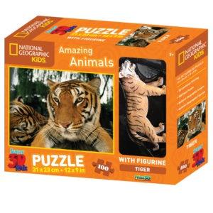 3D PUZZLE TIGER 100 PCS W/FIGURE