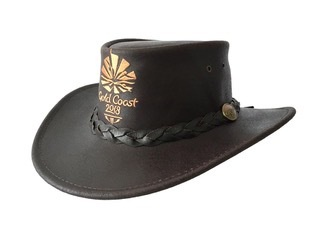 Brown Swagman Buffalo Leather Hat Image