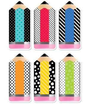 CTP 6228 STRIPED & SPOTTED PENCILS DESIGNER CUT-OUTS