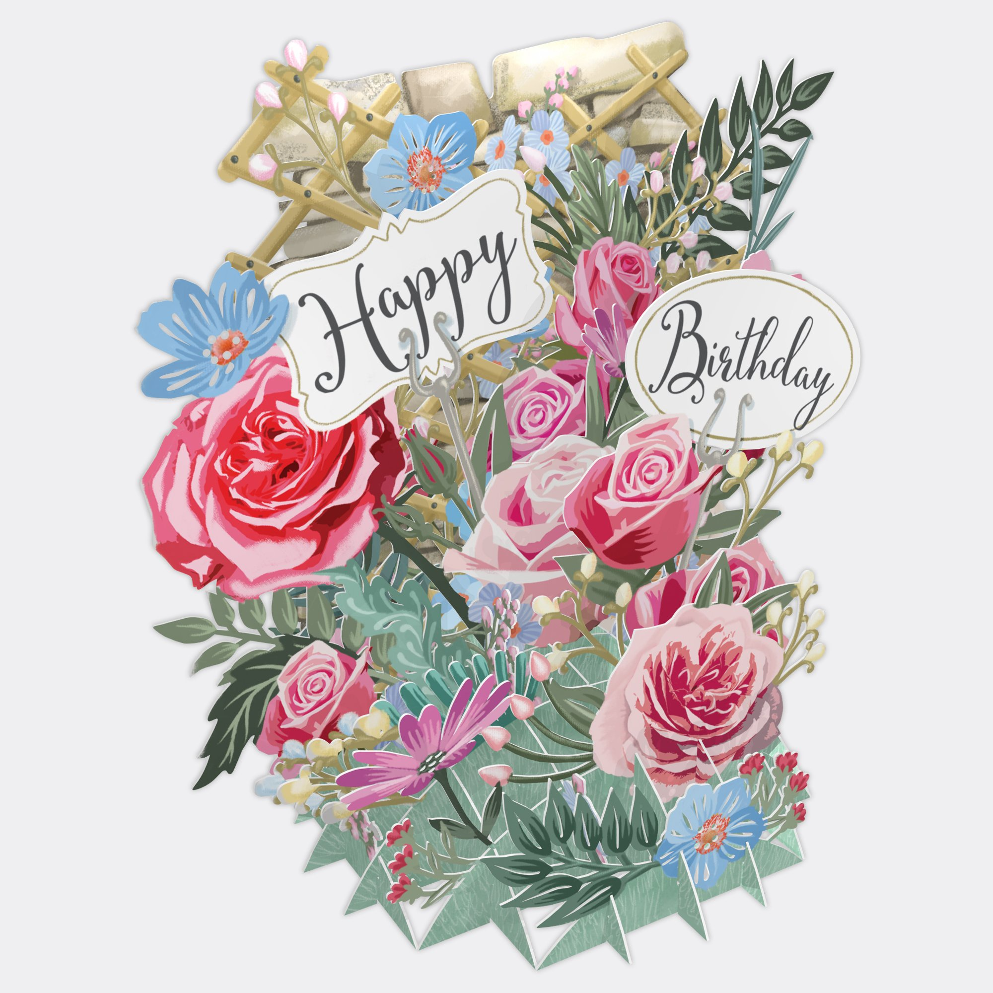 Birthday Flowers Top Of The World Pop Up Greetings Card Tw030