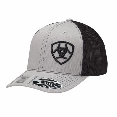 76bd5e68 Ariat Trucker Cap Grey With Black Mesh Back   Hats   Pakenham Western Wear  And Saddlery