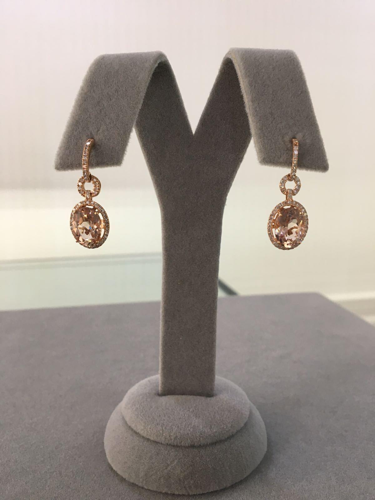 Rose Gold Diamond & Morganite Earrings
