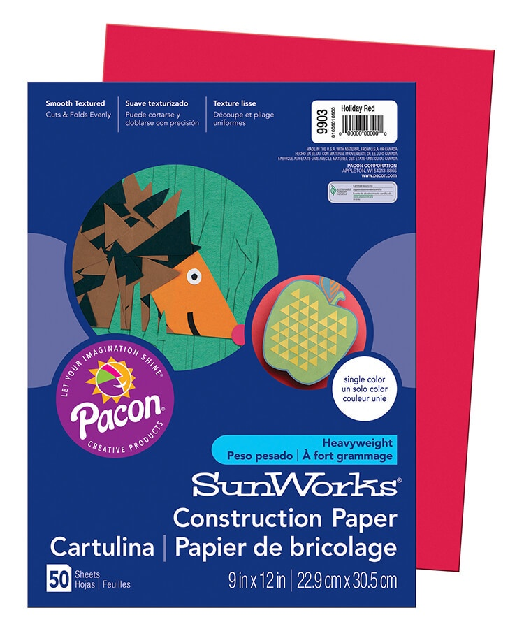 PA 9903 CONSTRUCTION PAPER 9 x 12 HOLIDAY RED