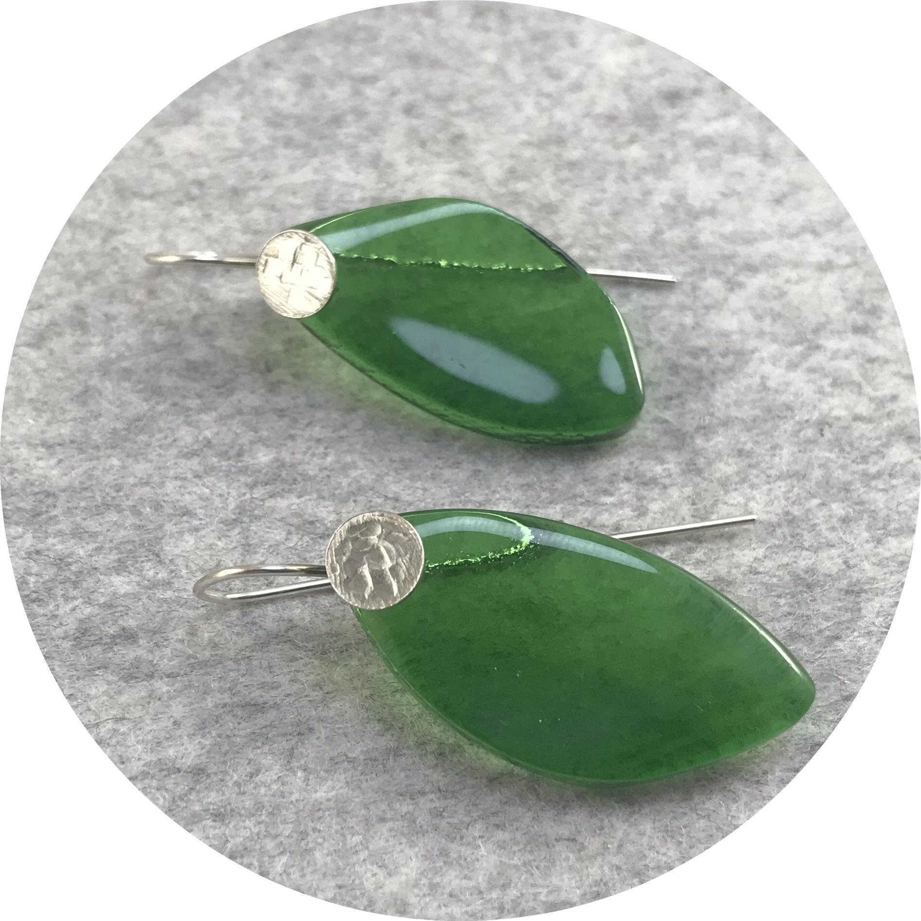 Alight Glass - 'Bottle Green Leaf Earrings', glass, 925 silver