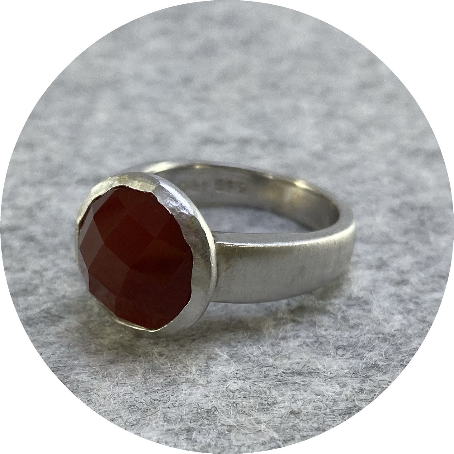 Orion Joel- Botanica Ring. Sterling silver with 12mm rose cut carnelian. size P1/2