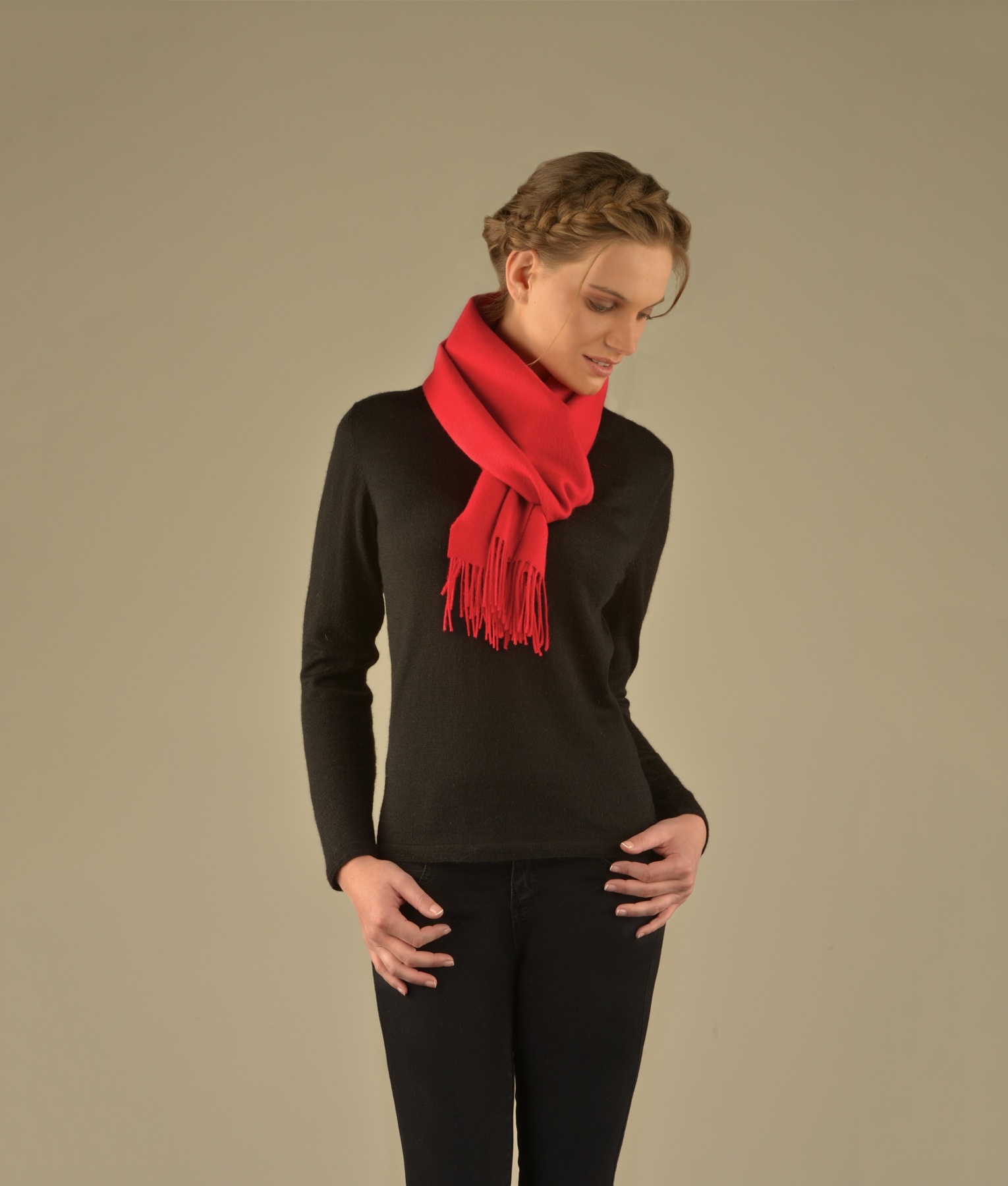 LONG BRUSHED SCARF RED RJ12953