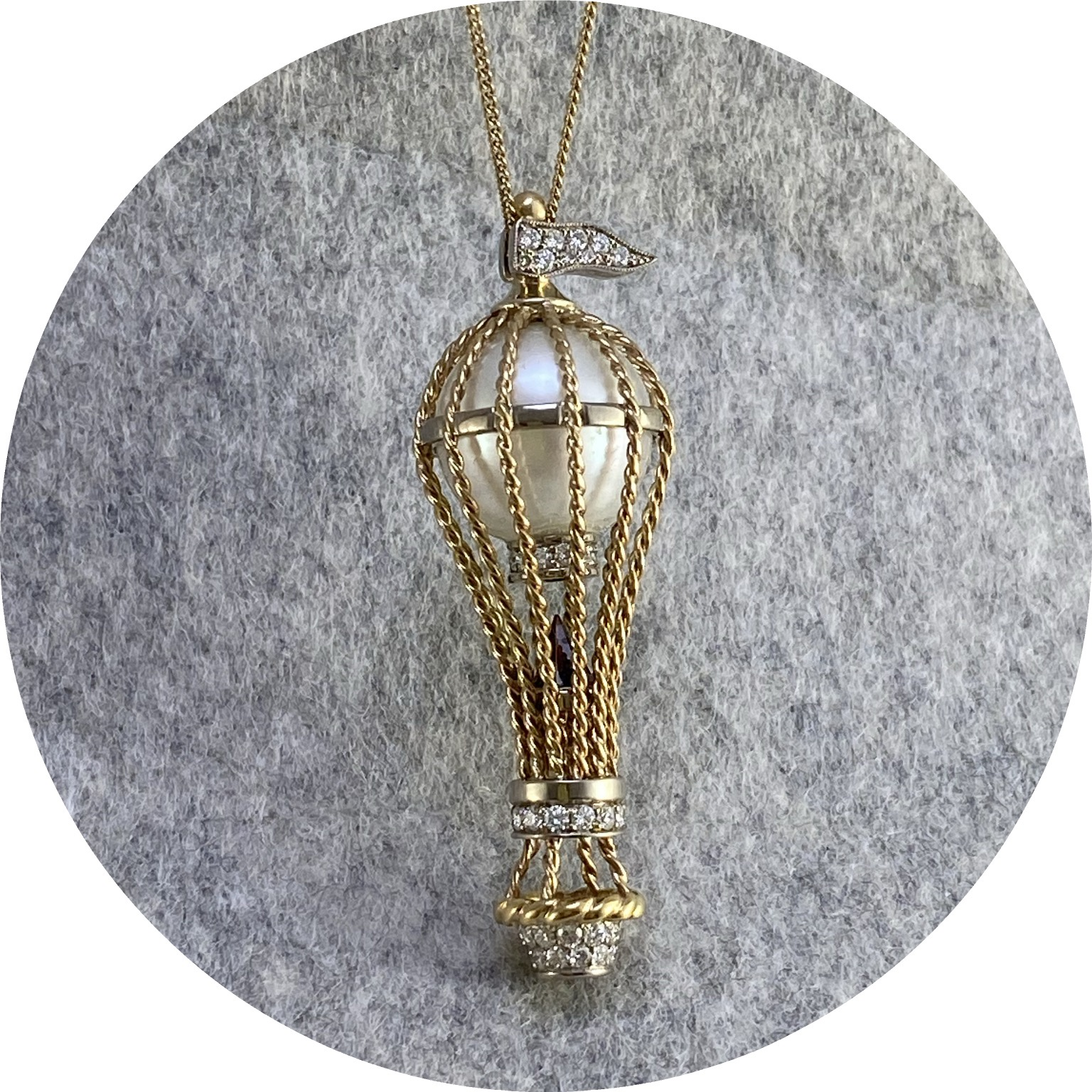 Brendan Cunningham - 'Air Balloon Pendant' 9ct yellow + white gold, diamonds, pearl, garnet