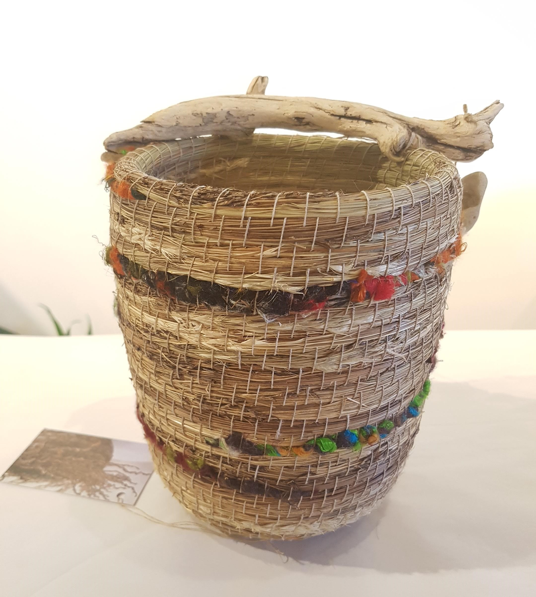Handcrafted Grass and Silk Basket