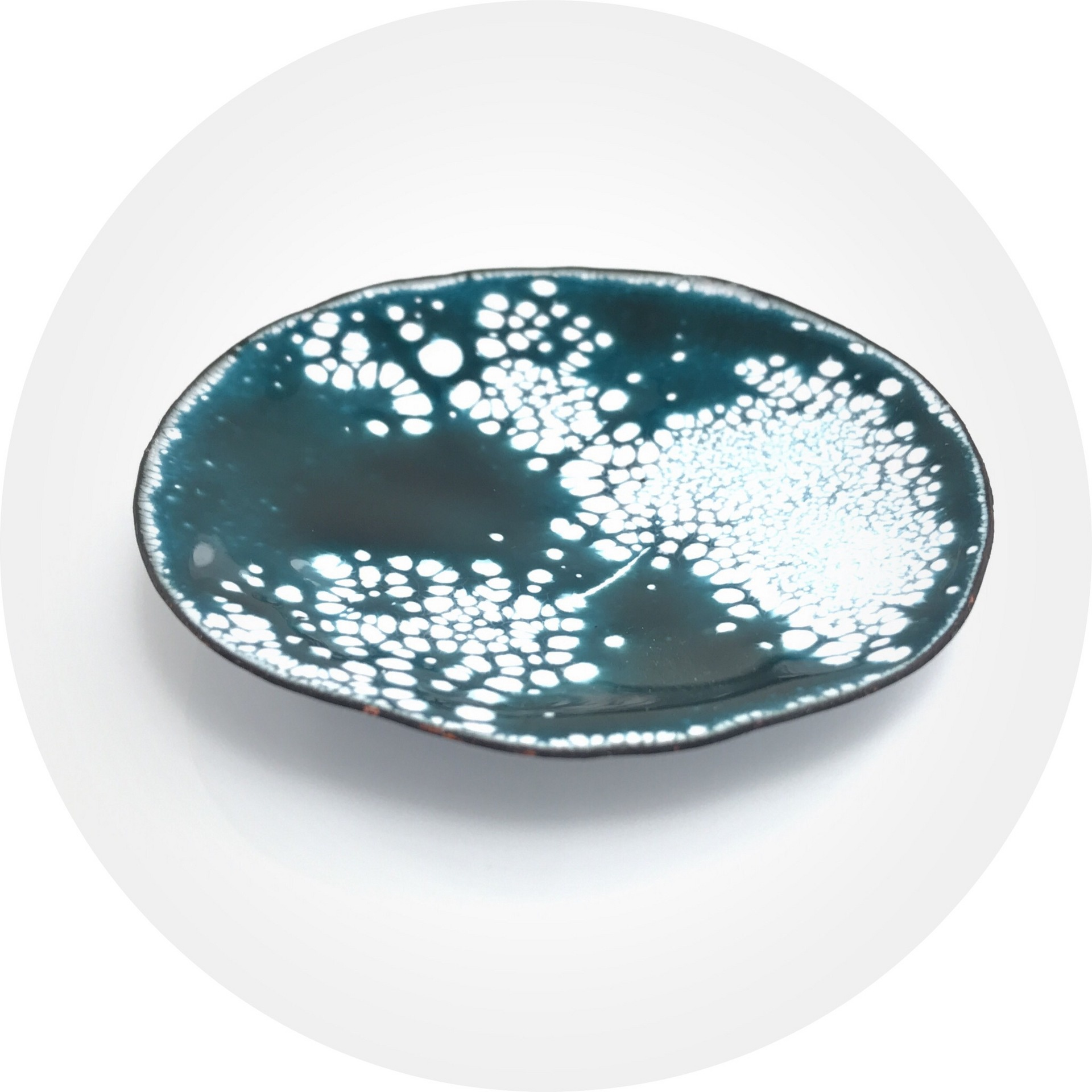 Ada Hodgson - 'peppermint' large tricked tray made from enamel and copper