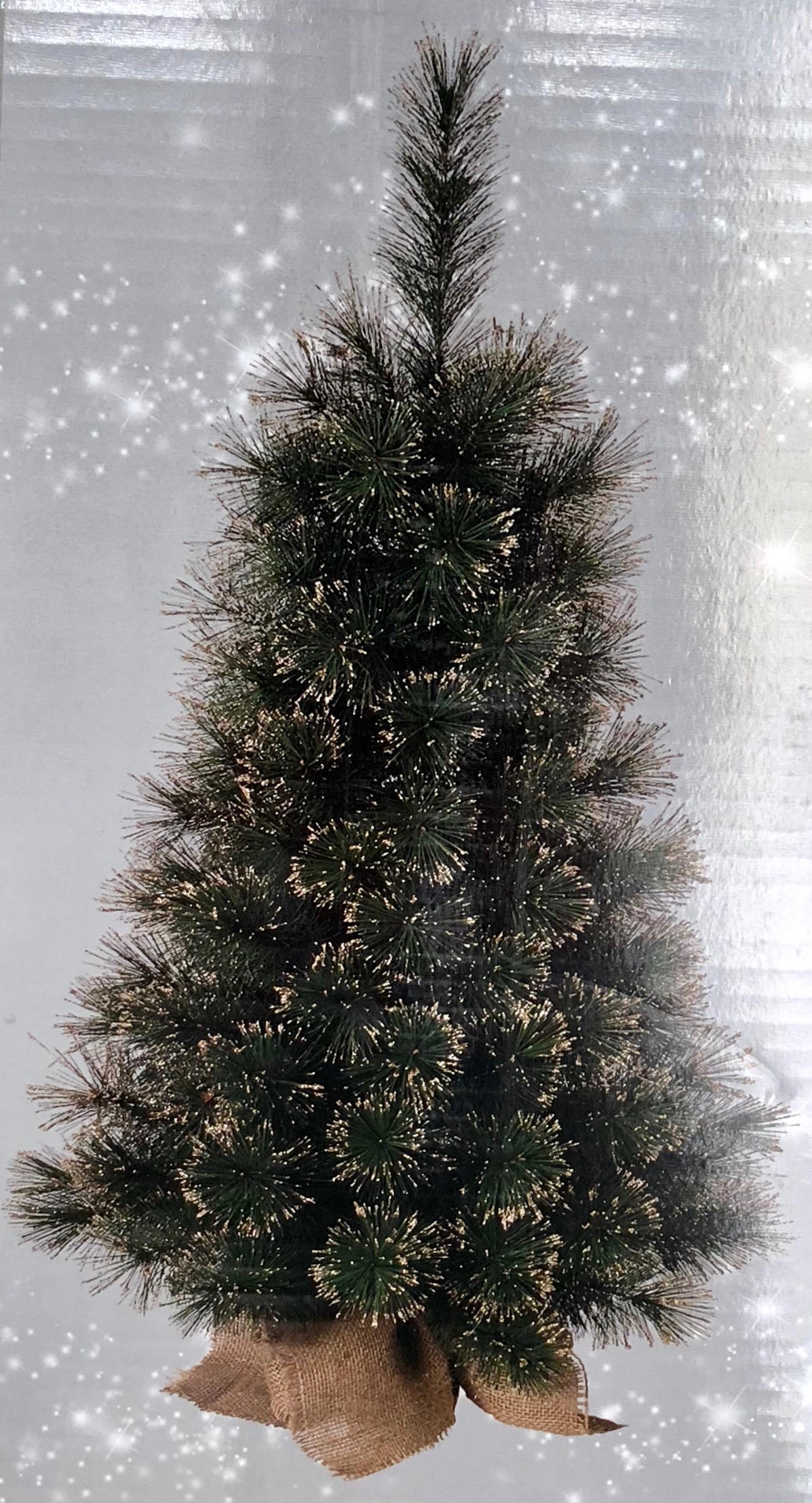 90cm 3ft Deluxe Xmas Tree W Jute Base Champagne Tips
