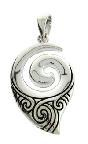 Pendant Koru / Spiral Engraved Stg Silver 22x16mm Box and Chain