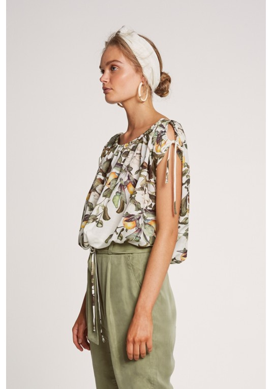 OnceWas Chiappini Drawcord Blouse