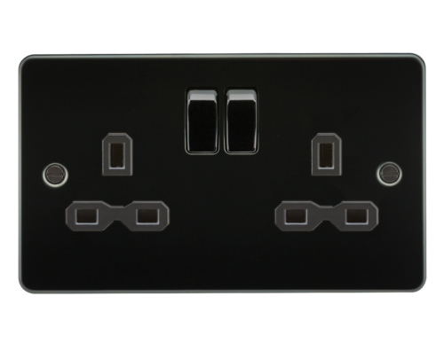 Flat plate 13A 2G DP switched socket - gunmetal with black insert