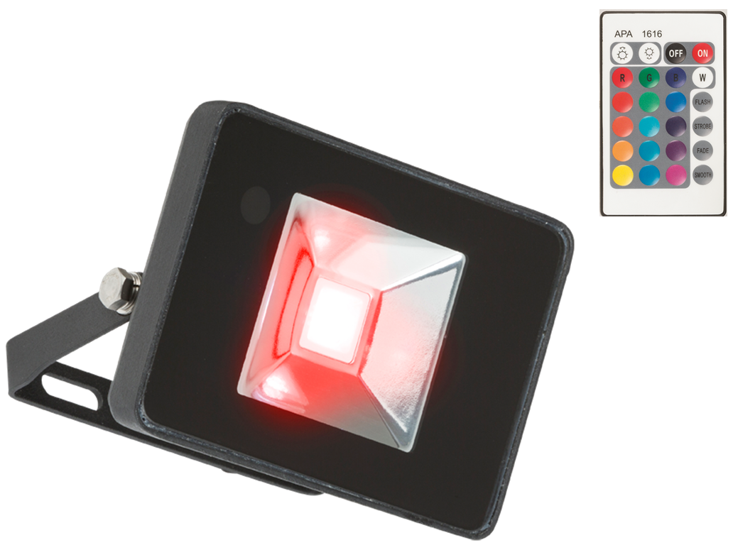 230V IP65 50W RGB LED Black Die-Cast Aluminium Floodlight