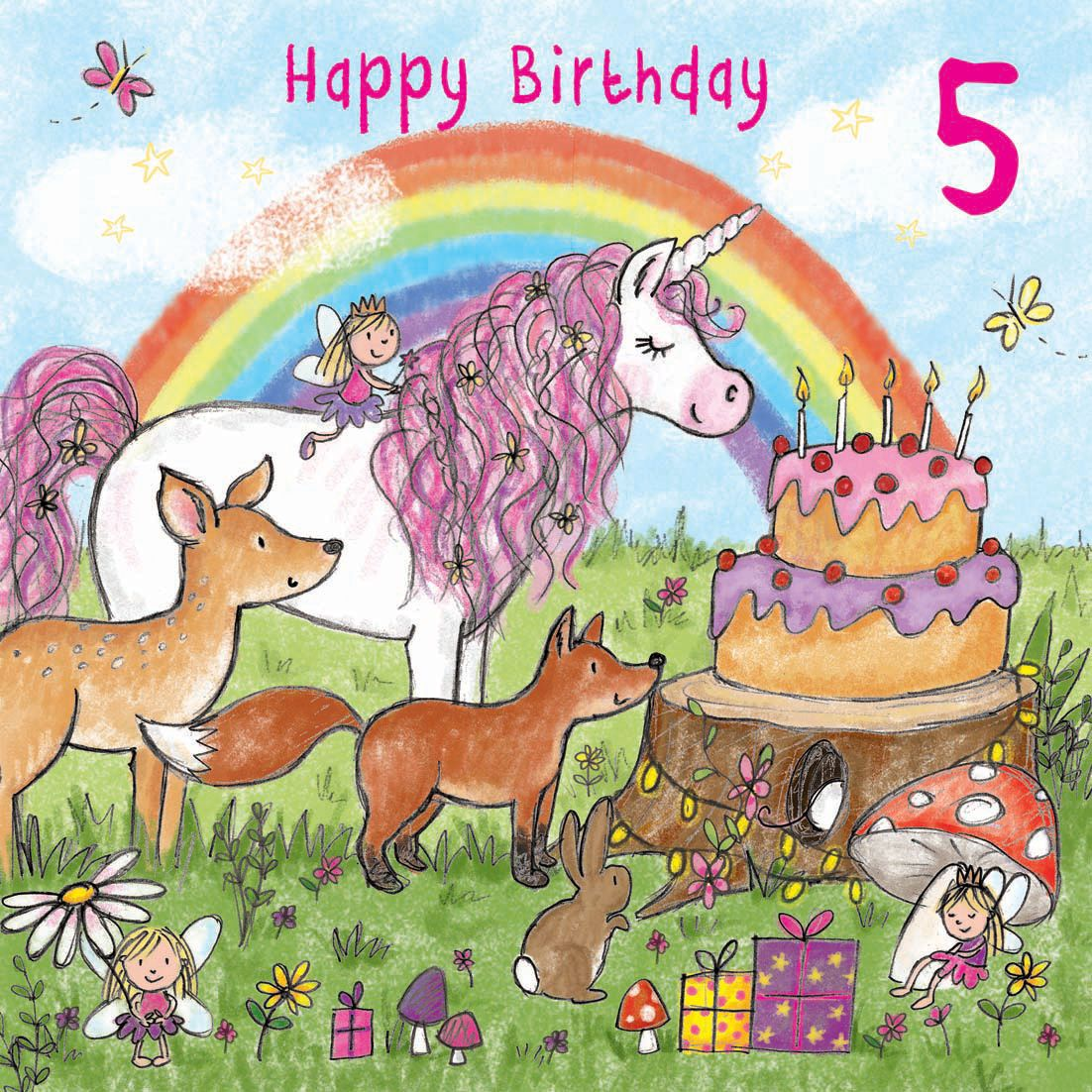Age 5 Girls Birthday Card With Unicorn TW714