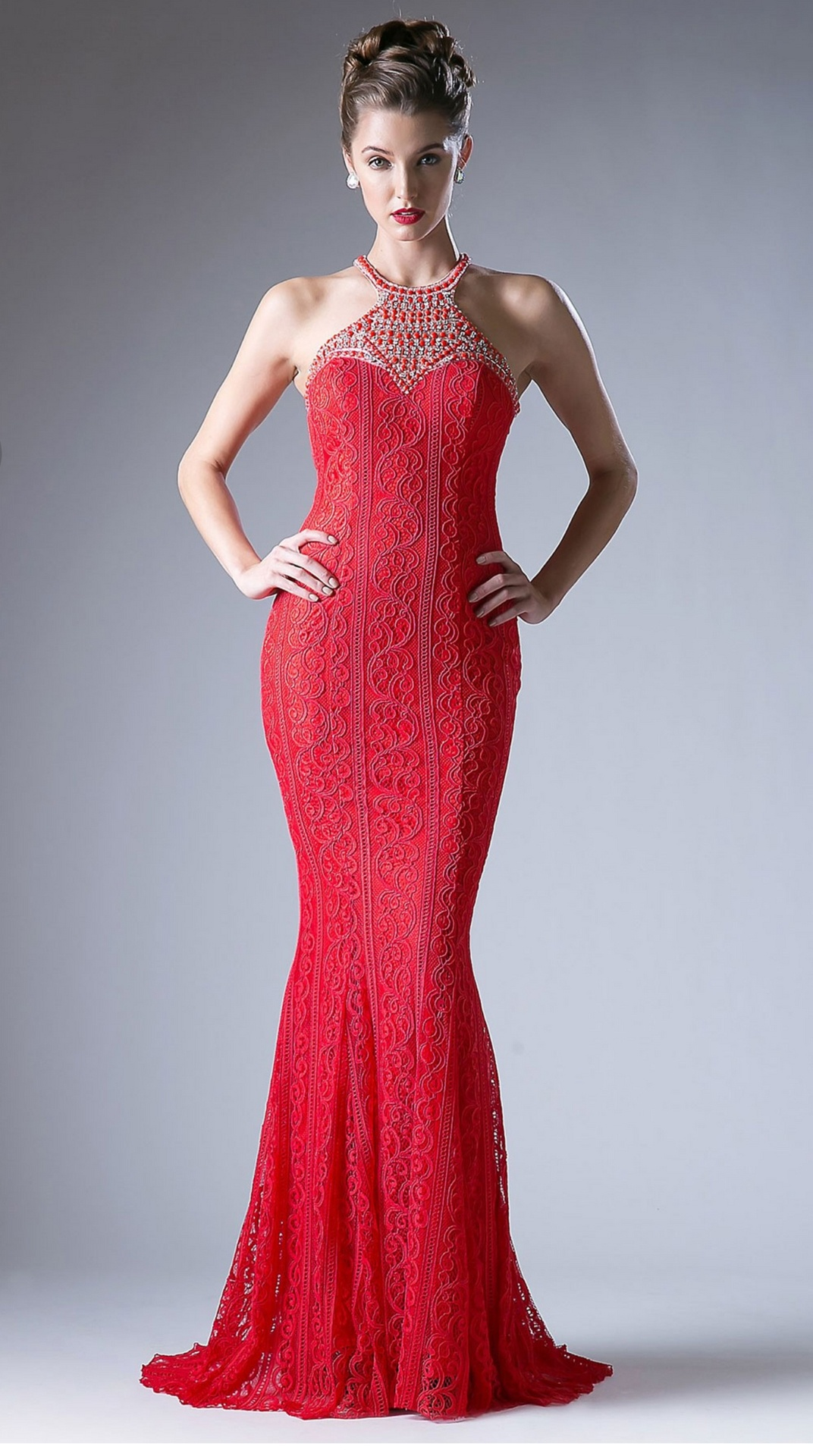 f214bc9bfdc Floor Length Gown - Red Lace with Embellished Neck and Cutout Back maxi  Dress ...