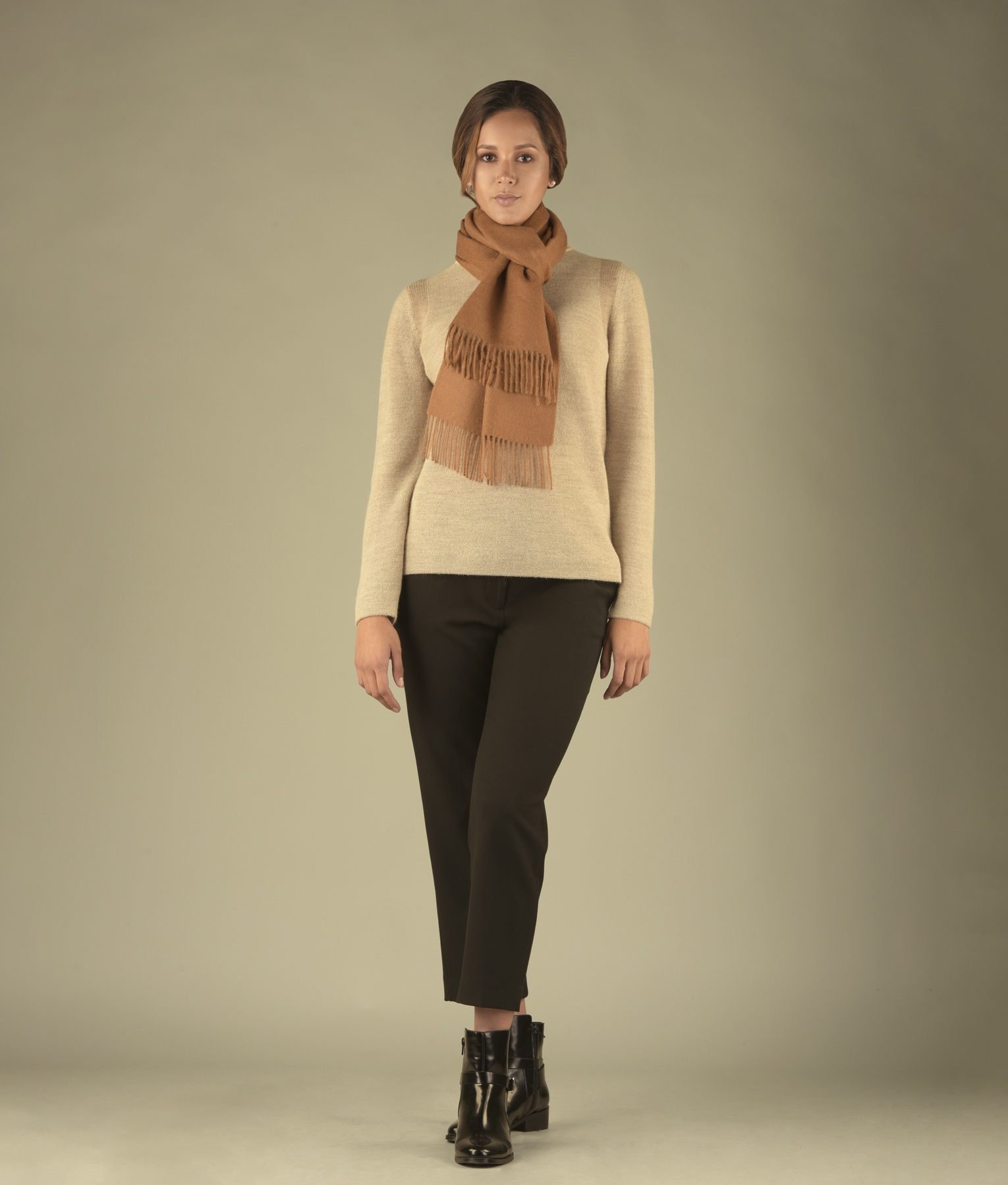 LONG BRUSHED SCARF CAMEL 205
