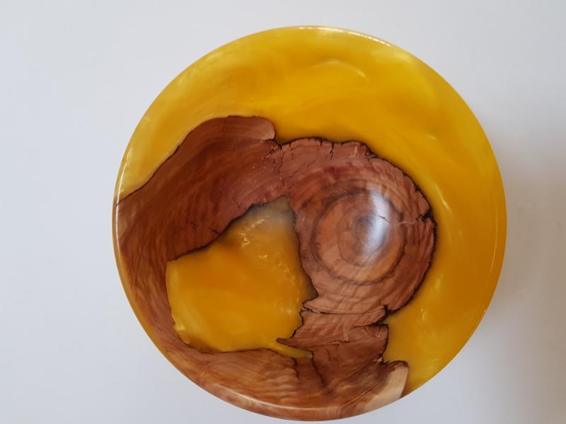 Brown Mallee Burl Bowl with Brillliant Yellow Resin