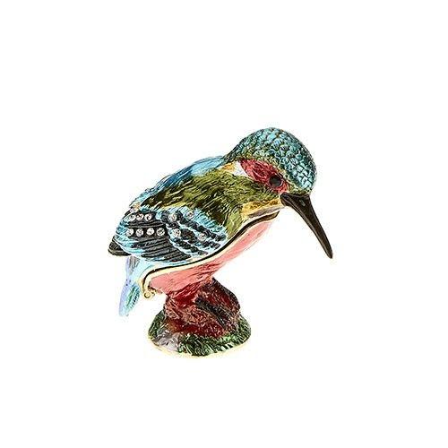 Jewelled Enameled Kingfisher Box