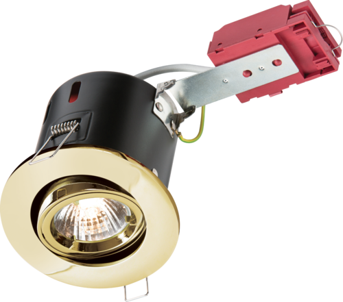 230V IP20 50W GU10 IC Fire-Rated Tilt Downlight Brass