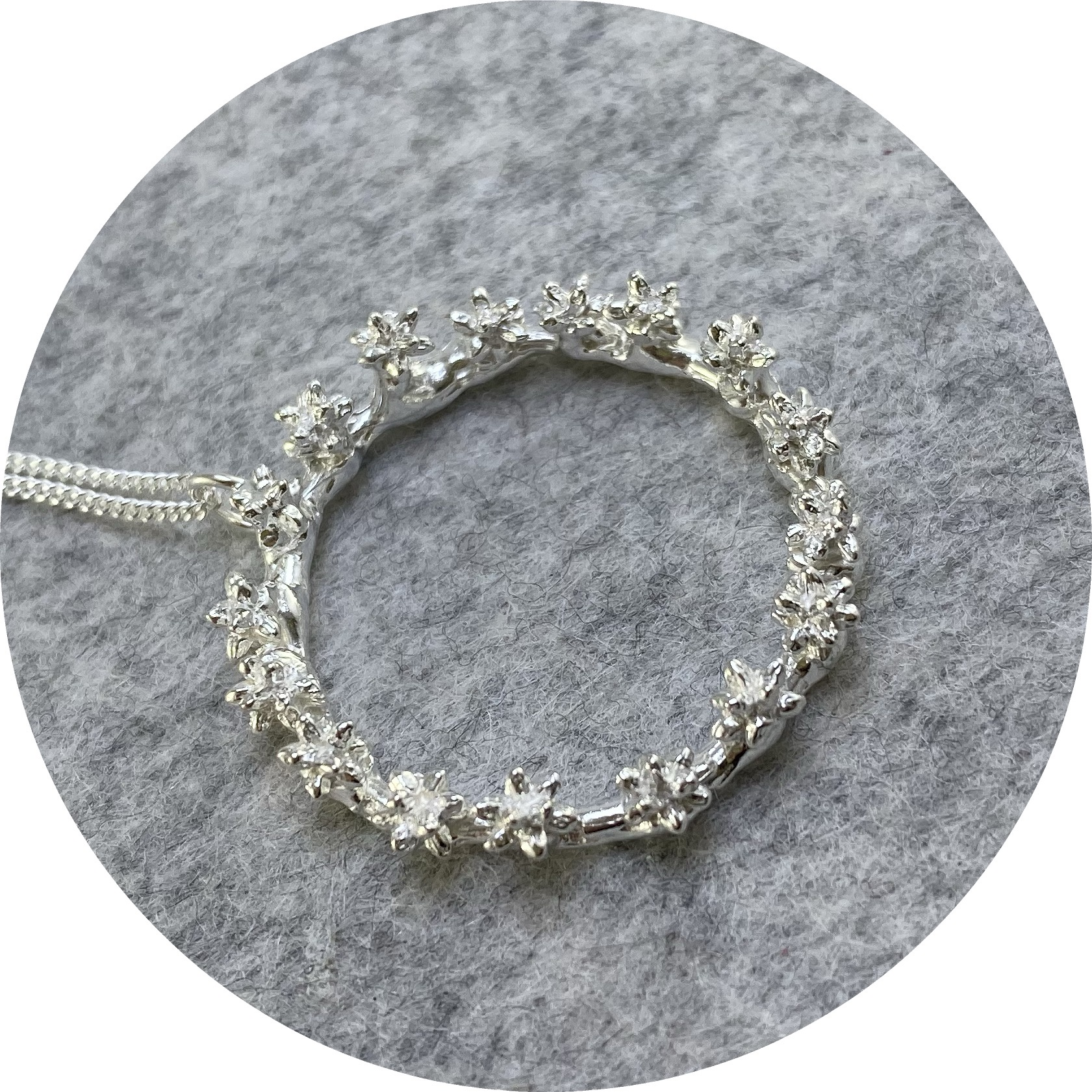 Manuela Igreja- Spur wreath necklace. Sterling silver.
