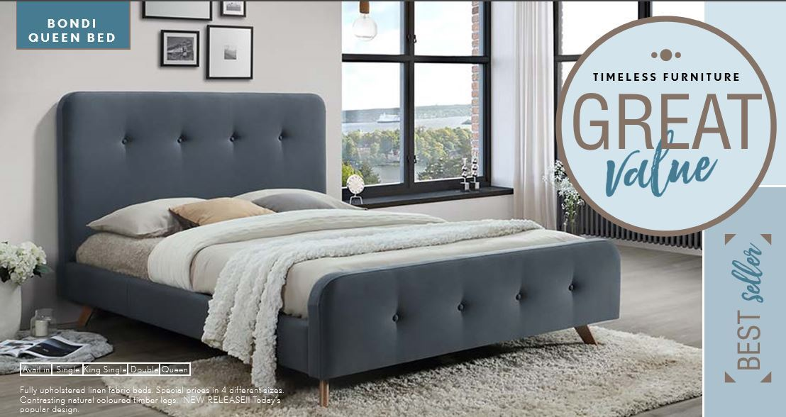 bondi single bed fabric grey - Furniture Bondi